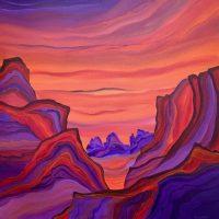 "Fiery Sunset Judy Choate  36"" x 36"" acrylic on canvas $2275"