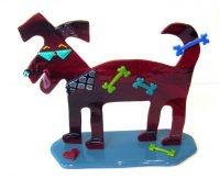 """Dog Sue Goldsand  9"""" x 10.5"""" x 3.5"""" glass $250"""
