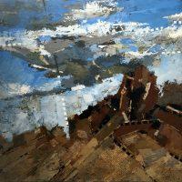 """Cloudburst II Melissa Johnson 36"""" x 36"""" mixed media on canvas $1850"""