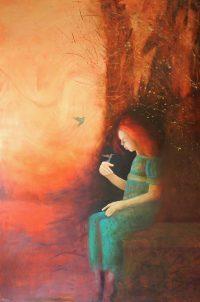 """Hummingbird Garden Monika Rossa 60"""" x 48"""" oil on canvas $3900"""