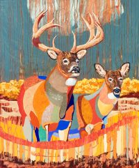 "Whitetail Pair Ron Russon 72"" x 60"" Oil on canvas $10,000"
