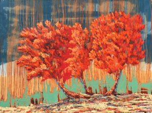 "Red Tree Trio by Ron Russon 36"" x 48"" oil"