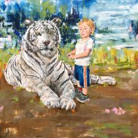 "Eli and the Tiger Brian Boner  48"" x 48"" oil on canvas $2,850"