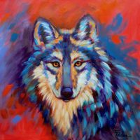 "Mexican Gray Wolf Theresa Paden  20"" x 20"" acrylic on canvas $850"