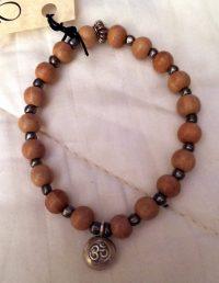 Bracelet Joan Robinson Wood Mala Beads, Thai Silver