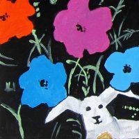 "Rabbit Redux IV Laurelea Kim 5"" x 5"" acrylic on canvas $125"