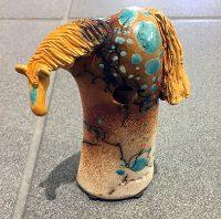 "Tiny Horse (Brown & Turquoise) Alan Potter 5-1/2"" x 3"" x 1-1/2"" ceramic"