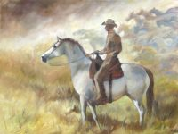 """Ode to Horses Chaille Trevor  30"""" x 40"""" oil on canvas $2000"""