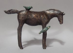 "Katarina Blue by Renee Martig, 4"" x 5"" x 1.5"", bronze, $275"