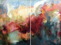 "Wakatobi IV Tierney M. Miller 60"" x 80"" (diptych) mixed media on canvas $7900"