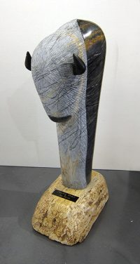 "Prairie Spirit Jess Davila 18.5"" x 8.25"" x 5.5"" picasso marble on travertine base $5900"