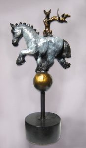 "Balancing Act II by Barbara Duzan 13"" x 5.5"" x 4"" bronze sculpture"