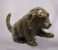 "Puppy Paw Up by Barbara Duzan 5.5"" x 5"" x 9"" bronze"