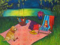 "Picnic on the Grass Judy Feldman 36"" x 48"" oil on canvas $3850"