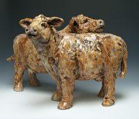 """BFF Brown Cows Kari Rives 12"""" x 6"""" x 17"""" approx each clay $1950"""