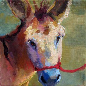 """Red Halter</em>Sarah Webber by Sarah Webber6"""" x 6""""oil on canvas"""