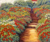"Dahlia Walk Lawrence Taylor 40"" x 48"" oil on canvas $3400"