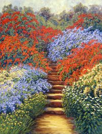 "Garden Steps to Beyond Lawrence Taylor 42"" x 36"" oil on canvas $2700"