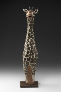 Giraffe with Metal Stand by Clydean Troner