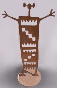 """Navajo Maiden, Doug Weigel 47"""" x 28"""" patina, steel"""