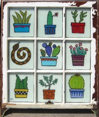 """Cactus and Rattlenake  Melinda D. Curtin 33"""" x 28"""" acrylic on reversed glass $850"""