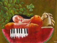 """La Pianista Jose Echeverria 35"""" x 42.5"""" oil on canvas $3300"""