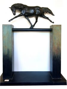 "The Big Straight and Narrow by Lisa M. Gordon , 68"" x 60"" x 18"", cast bronze, $14,500"