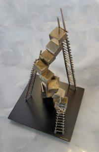 "Space Walk Ken Kasten 28"" x 16"" x 16"" Steel with Patina and Clearcoat $2500"