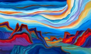 """Spring Sky Ribbons by Judy Choate 36"""" x 60"""""""