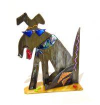 "Cool Dog Sue Goldsand 9"" x 7"" x 3.5"" glass $250"