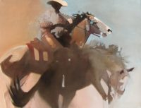 """Pick Up Rider Peggy Judy 36"""" x 48"""" oil on canvas $8,650"""