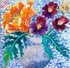 Tiger Poppy and Violets by Rachel Slick