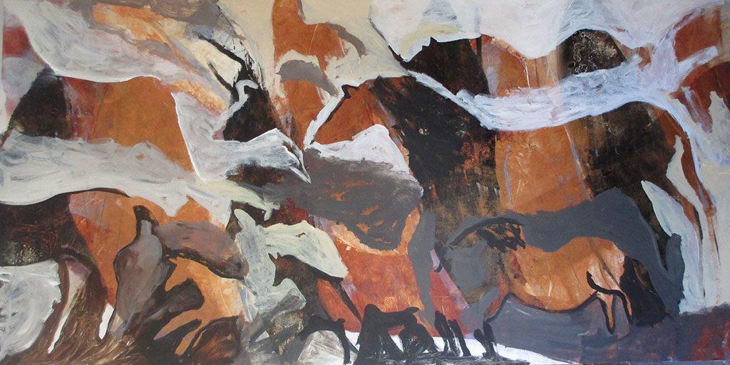 """Horses by Monika Rossa 48"""" x 96"""""""