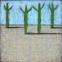"""Four Tall Nancy Pendleton 48"""" x 48"""" mixed media on panel $3950"""