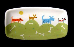 Dog Tray #1125 by Kathryn Blackmun, ceramic