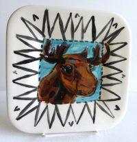 "Moose Plate Patricia Lazar 7.75"" x 7.75"" ceramic plate"
