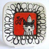 "Cat Plate Patricia Lazar 7.75"" x 7.75"" ceramic plate $46"