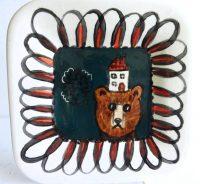"""Bear Plate Patricia Lazar 7.75"""" x 7.75"""" ceramic plate $46"""
