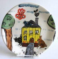 """House Plate Patricia Lazar 8"""" ceramic plate"""