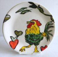 """Rooster Plate Patricia Lazar 8"""" ceramic plate"""