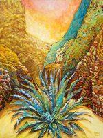 "Blue Aqave Sunrise Acacia Alder 66"" x 50"" acrylic on canvas $10,500"