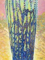 "Saguaro Runes 2 Acacia Alder 40"" x 30"" acrylic on canvas $3650"