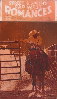 "Western Tales Vol. 1 -  XXIII Maura Allen 14"" x 8"" acrylic on panel $950"