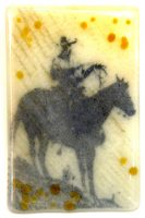 """Postcards From the West: First Ride Maura Allen 6"""" x 4"""" glass $275"""