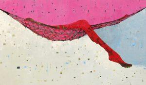 """Bubblegum Hangout by Sherri Belassen, 42"""" x 72"""", oil on canvas"""