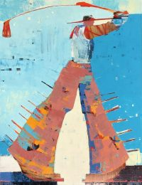 "Golfer Ranchera Sherri Belassen 40"" x 30"" oil on canvas"