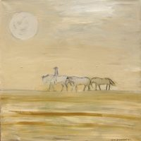 "The Desert Ride Karen Bezuidenhout 40"" x 40"" acrylic on canvas $3900"