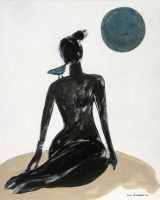"""Woman with Blue Moon Karen Bezuidenhout  60"""" x 48"""" acrylic on canvas $6200"""