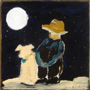"""Boy, Dog, Stars by Karen Bezuidenhout , 8"""" x 8"""", oil on canvas"""
