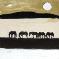 "Desert Horses Karen Bezuidenhout  40"" x 40"" oil on canvas $3900"